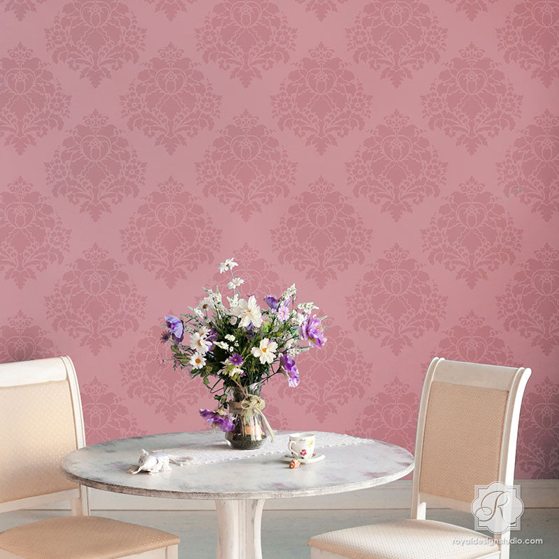 Romantic and Elegant Wall Decor Ideas with Flower Stencils - Aveline Floral Damask Wall Stencils - Royal Design Studio