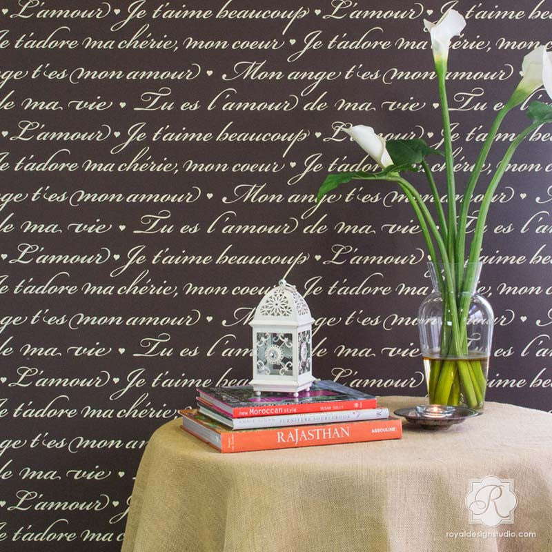 Design Stencils For Walls our classic stencils and european design stencils create formal and traditional designs whether painted onto walls or furniture Modern Home Decor Vintage French Phrases And Love Quotes Typography Wall Stencils