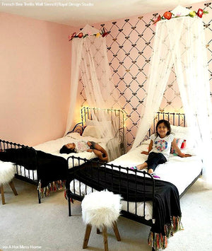 Paint Girls Room Makeover - French Bee Trellis Wall Stencils - Royal Design Studio