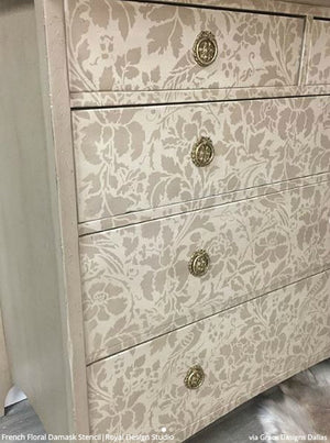 French Floral Damask Wall Stencil