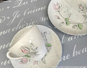 DIY French Phrase Painted Furniture Stencils Vintage Room Idea - Royal Design Studio