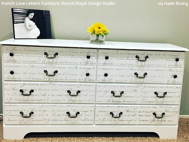 French Love Letters Furniture Stencil | Stenciling for DIY Home Decor