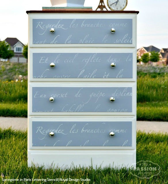 Chalk Paint Painted Furniture Stencils - French Lettering Stencils from Royal Design Studio