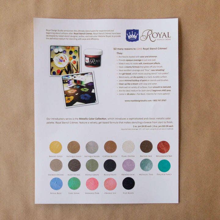 FREE - Royal Stencil Cremes Color Chart