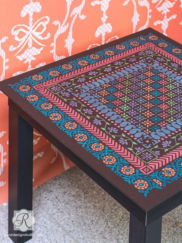 Paint and Stencil Table Tops with Border Stencils - Sari-inspired Indian Furniture Border Stencils by Royal Design Studio Stencils