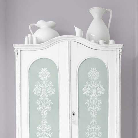 Stenciled Cabinet Doors with Delicate Floral Furniture Stencils - Royal Design Studio