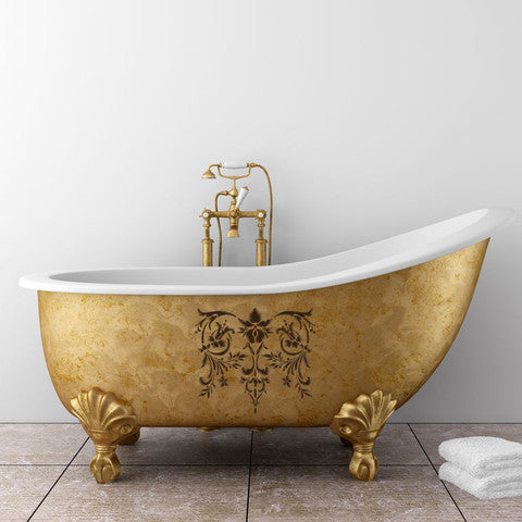 Furniture Stencils -Toulouse Classic Panel Stencils on bathtub
