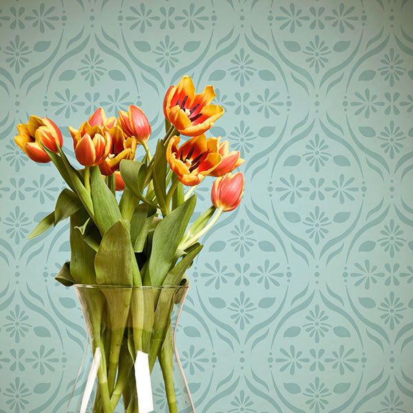 Allover Floral Trellis Furniture Stencils for DIY Flower Designs on Table Tops, Dresser Drawers, and Kitchen Backsplash - Royal Design Studio