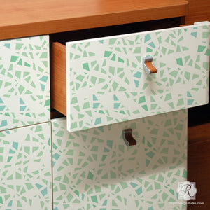 Shattered Glass Pattern Painted on Dresser Drawers - Painted Furniture Stencils with Modern Geometric Shapes - Royal Design Studio
