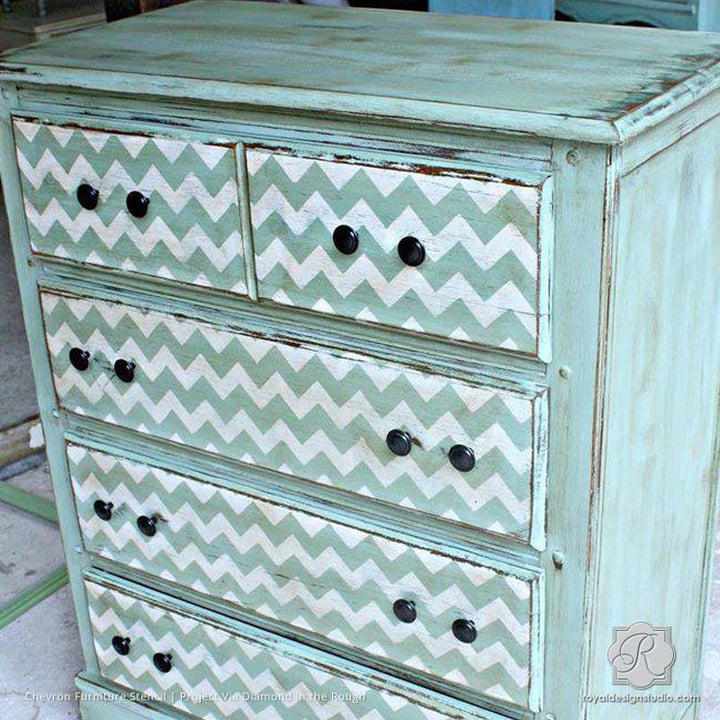 DIY Furniture Makeover using Classic Chevron Stripe Stencils - Royal Design Studio