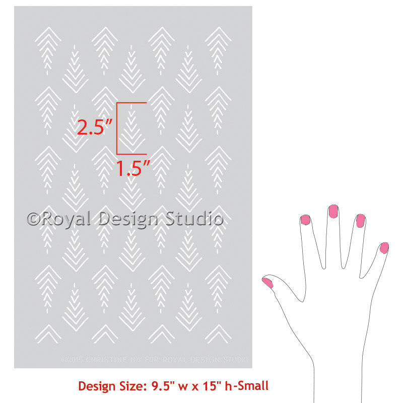 Designer Stencils for Painting Furniture - Arrow Print Designs and Tribal Pattern Stencils - Royal Design Studio
