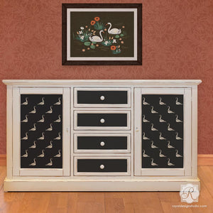 DIY Furniture Makeover - Stenciling Dresser Drawers for Kids Room with Bird Stencils - Royal Design Studio