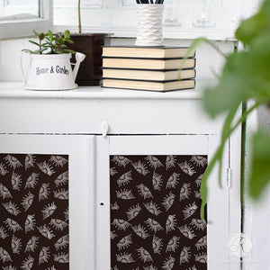 Modern DIY Decor - Painted Furniture Stencils - Stenciled Cabinet Doors - Royal Design Studio