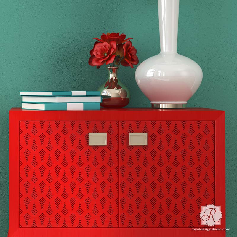 Modern Dresser Cabinet Makeover using Tribal Pattern Stencils - Trendy Arrow Print Designs and Decor - Royal Design Studio
