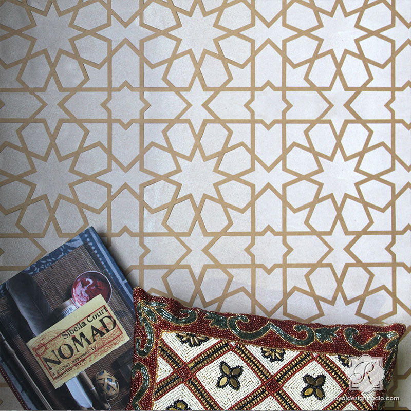 Decorative Designs Painted On Wall Decor   Moroccan And Geometric Pattern  Stencils   Royal Design Studio