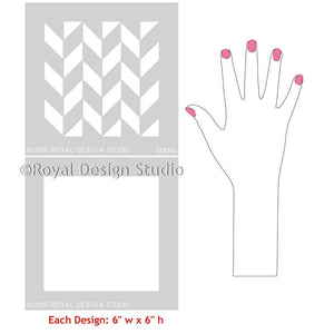 Classic Herringbone Pattern Craft Stencils for Painting - Royal Design Studio