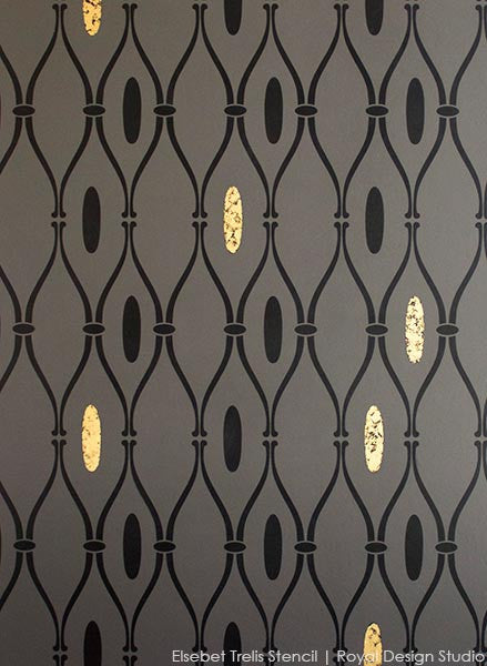Using gold leaf with stencils. Elsebet Trellis stencil from Royal Design Studio