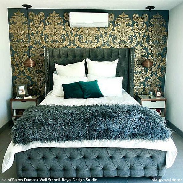 Isle of Palms Damask Wall Stencil