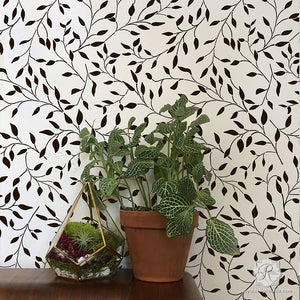 Leaf Wallpaper Pattern using Nature Room Theme Designer Wall Stencils - Royal Design Studio
