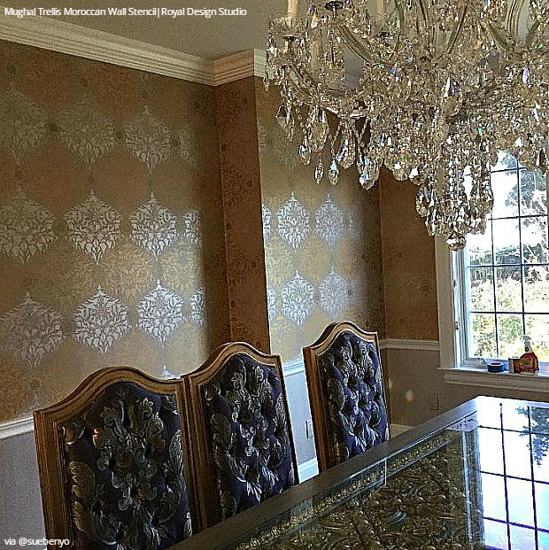 Elegant Classic Wallpaper Painted on Accent Wall Stencils - Royal Design Studio