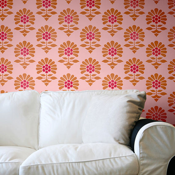 Indian Flower Allover Wall Furniture Stencil