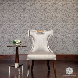 Romantic Lace Wall Stencils - Large Decorative Wall Decor Wallpaper Stencils - Royal Design Studio