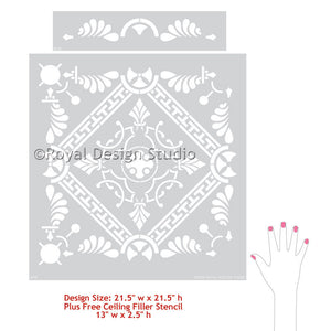 Greek Tile Stencil Pattern from Royal Design Studio Wall Stencils