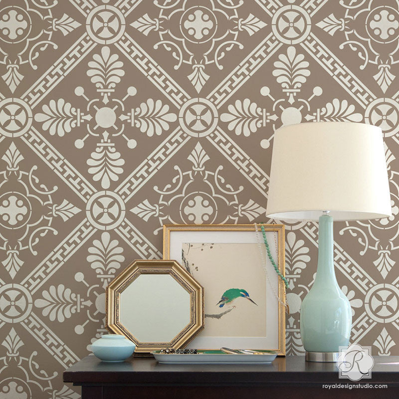 Grecian Tile Damask Wall Stencil - Greek Pattern For Diy Home