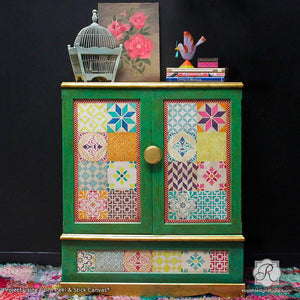 Paint Peel and Stick Canvas on Painted Boho Cabinet - Removable Canvas for Stenciled Decor Projects - Royal Design Studio