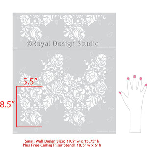 Allover Brocade Small Wall Stencil