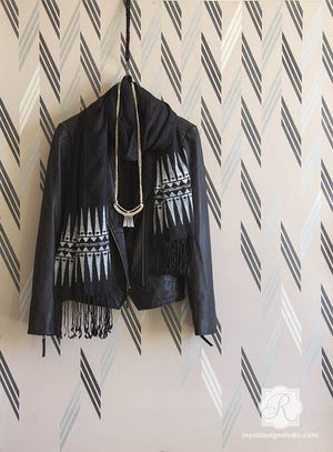 Designer Wallpaper Look for Less! Stenciling walls with modern herringbone patterns and tribal patterns - Braided Herringbone Wall Stencils - Royal Design Studio