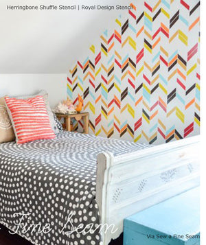 Herringbone Shuffle Allover Wall Stencil by Royal Design Studio