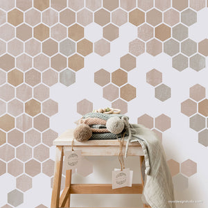 geometric modern wall painting stencil bee honeycomb pattern - Royal Design Studio