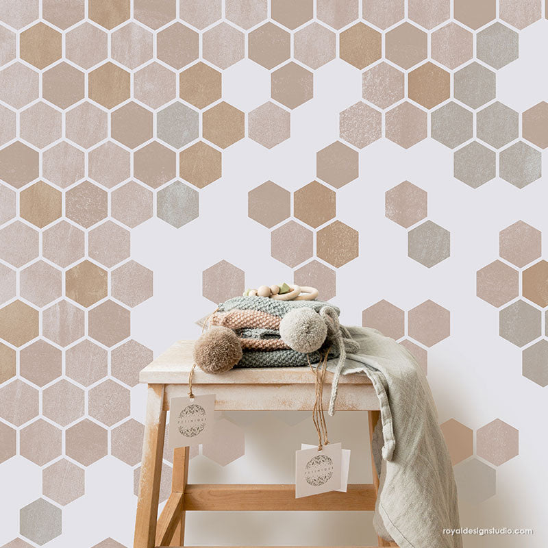 Allover Wall Stencils Honeycomb Stencils