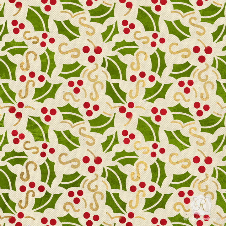Christmas Holly Berry Mistletoe Holiday Craft Stencils - Royal Design Studio