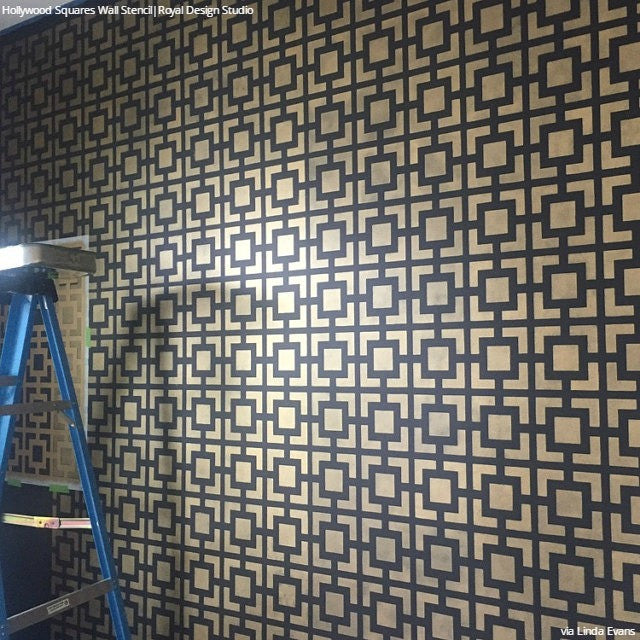 Modern and Retro Painted Stenciled Wall Decor - Geometric Wall Designs - Hollywood Squares Wall Stencils - Royal Design Studio