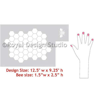 DIY Project ideas - cute bee stencil with honeycomb pattern for nursery decor or kids room decor - Royal Design Studio