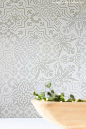 Easy Affordable Shabby Chic Tile Stencils for Patchwork Wall Pattern - Royal Design Studio