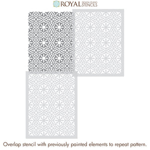 Toledo Tile Allover Stencil for Painting Accent Wall or Concrete Floor - Royal Design Studio