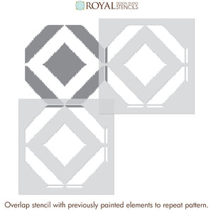 Modern Ikat Pattern Floor Tile Stencils - Black and White Bohemian Stencils - DIY Floor Decor Pattern - Royal Design Studio