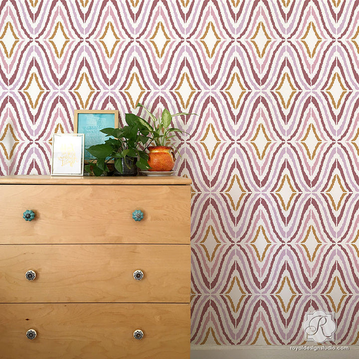Modern Wallpaper Design for Easy DIY Projects - Good Vibrations Wall Stencils - Royal Design Studio