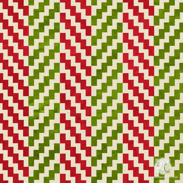 Ikat Zig Zag Craft Stencils for Modern DIY Christmas Decor