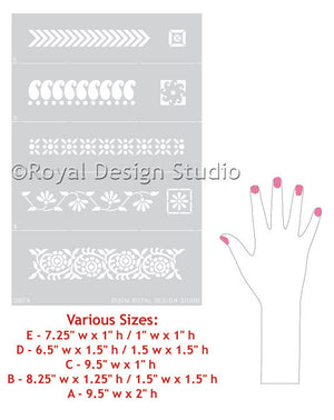 Indian Sari Detail Border Stencils by Royal Design Studio Stencils