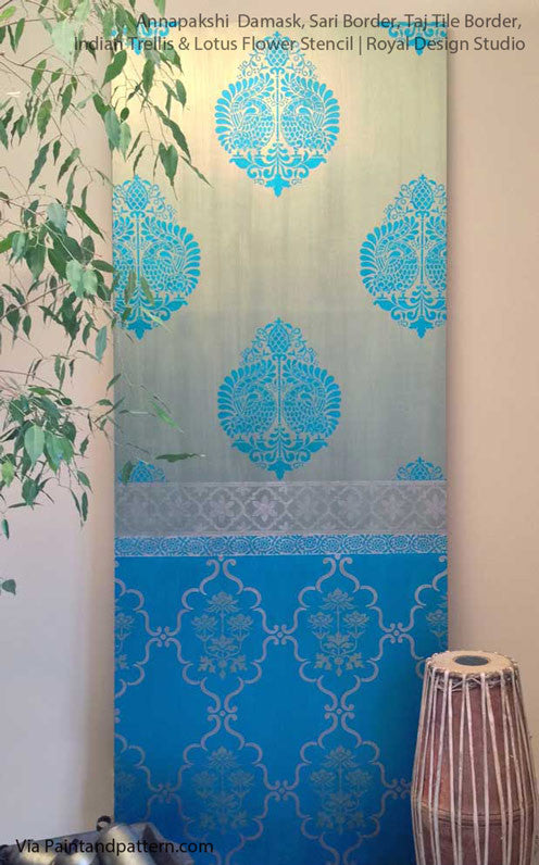 Indian Annapakshi Bird Damask Wall Stencil by Royal Design Studio Stencils
