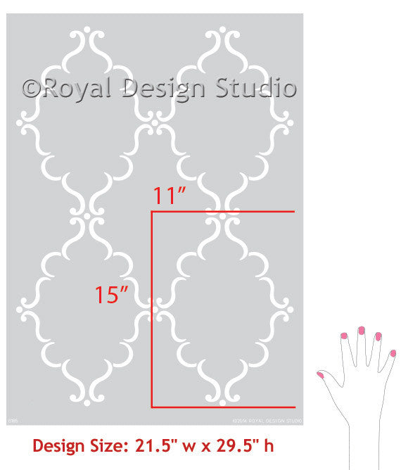 Allover Trellis & Lotus Flower Stencil Set by Royal Design Studio Stencils
