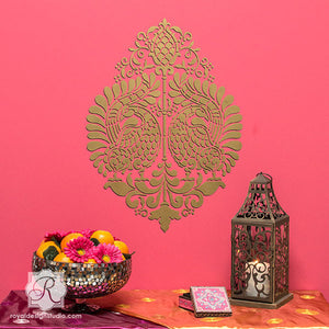 Paint Accents Walls in Bold Colors for Exotic Wall Decor - Indian Annapakshi Bird Damask Wall Stencil by Royal Design Studio Stencils