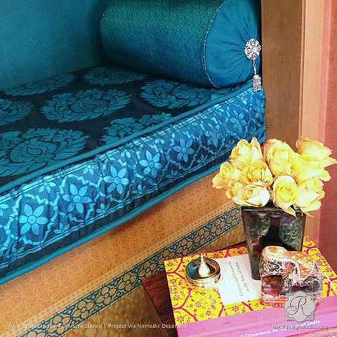 Colorful DIY Decor Painted With Rani Paisley Indian Furniture And Fabric Stencils