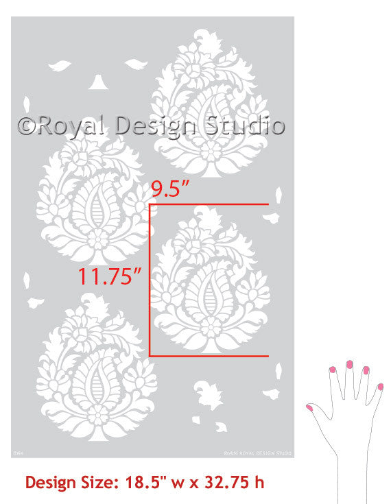 Rani Paisley Indian Damask Wall Stencil