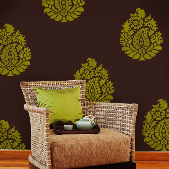 Bright and Bold Color Combo and Indian Design Paisley Wall Art Stencil by Royal Design Studio Stencils