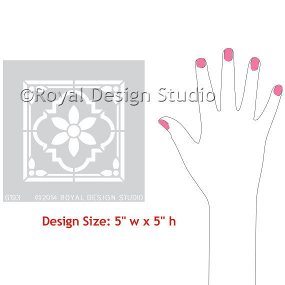 Indian Floral Tile Corner Motif Stencil by Royal Design Studio Stencils